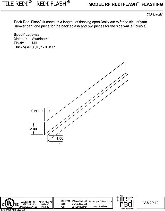 Fits All Tile 36 D x 66 W Pans Silver Tile Redi USA TRZF3666-BI Redi Shower Flashing