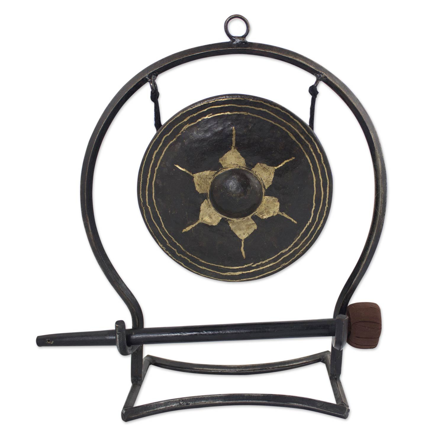 NOVICA Iron and brass gong, Large, Thai Harmony by NOVICA