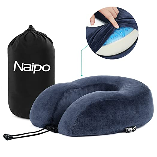 Naipo Travel Pillow Memory Foam Neck Cushion Head Chin Support Rest U Shape Gel