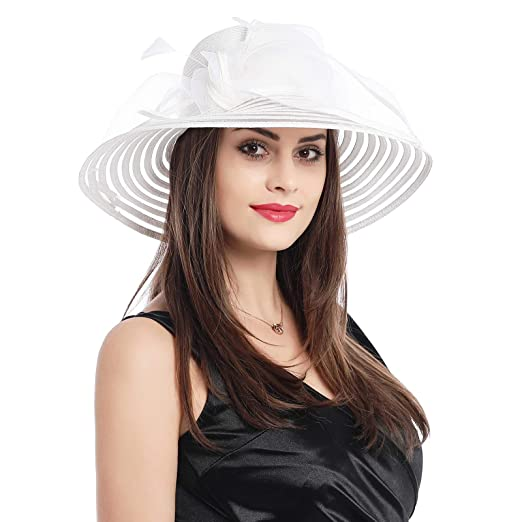 6f51b976f5901 Dantiya Sun Shade Hats for Womens Summer Outdoor Wide Brim Kentucky Derby  Church Dress Wedding Floral