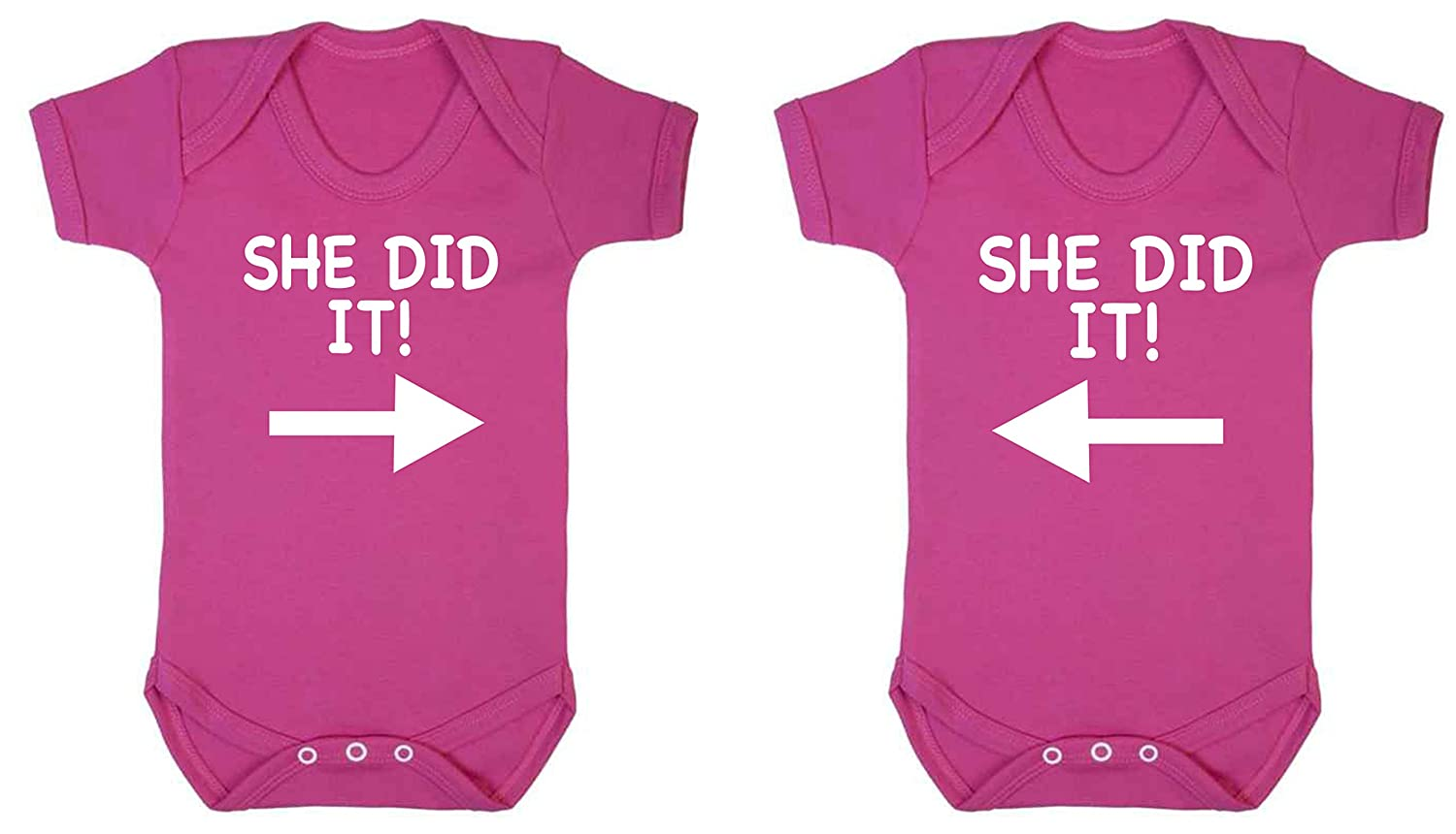 ICKLE PEANUT She Did it Twin Set Pack Of Two Funny Baby Vest Baby Grow Bodysuit Dark Pink