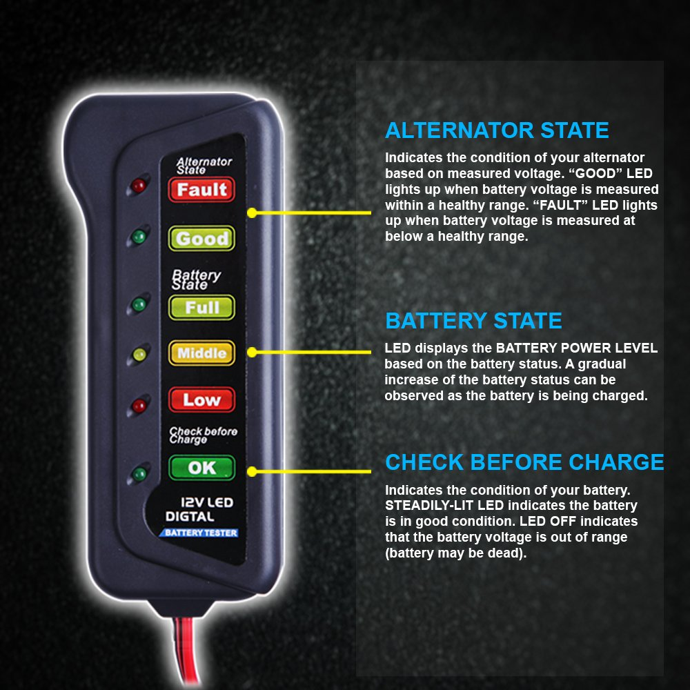 Cartman 12v Car Battery Alternator Tester Test Automotive Voltage Indicator Condition Charging Led Indication