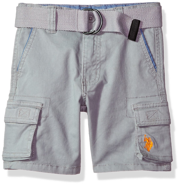 U.S. Polo Assn.. Little Boys' Short, Stretch Cotton Twill Cargo Medium Grey, 6