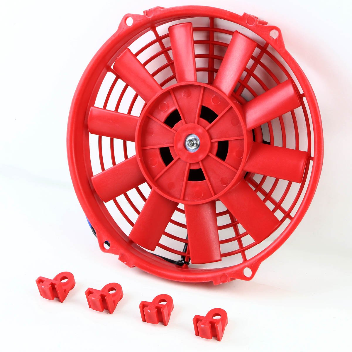 (Pack of 2) 9 Inch High Performance 12V Electric Slim Radiator Cooling Fan w/Mounting Kit - Red by Auto Dynasty (Image #3)