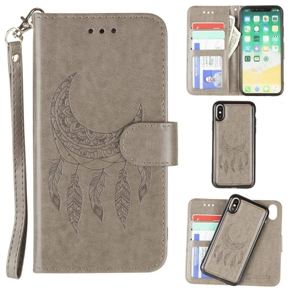 iPhone X Wallet Case, iPhone XS Case, Slim PU Leather Embossed Design with Matching Detachable Flip Cover with Credit Card Holder Wristlet for Women [Moon Dreamcatcher - Gray]