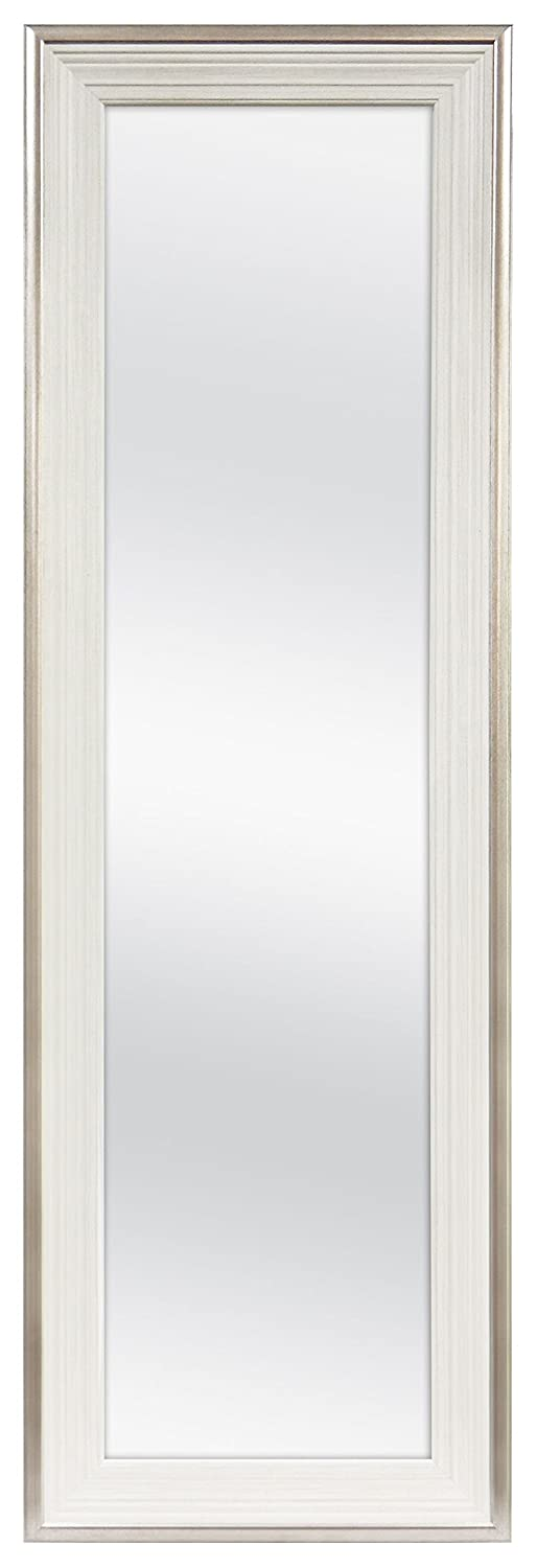 MCS 12x48 Inch Over the Door Mirror, 18x54 Inch Overall Size, White (65730)