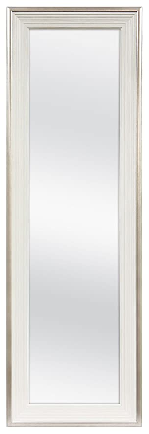 MCS 12x48 Inch Over The Door Mirror, 18x54 Inch Overall Size, White (65730