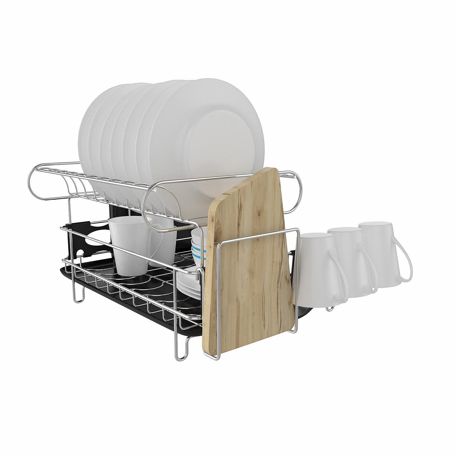 Mewalker 2 Tier Dish Drying Rack 304 Stainless Steel Professional Dish Rack with Microfiber Mat Drain Board and Cutlery Holder, Black by Mewalker (Image #5)