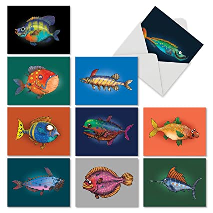 Amazon 10 fish themed note cards with envelopes blank 10 fish themed note cards with envelopes blank fishtoons greeting cards for all m4hsunfo