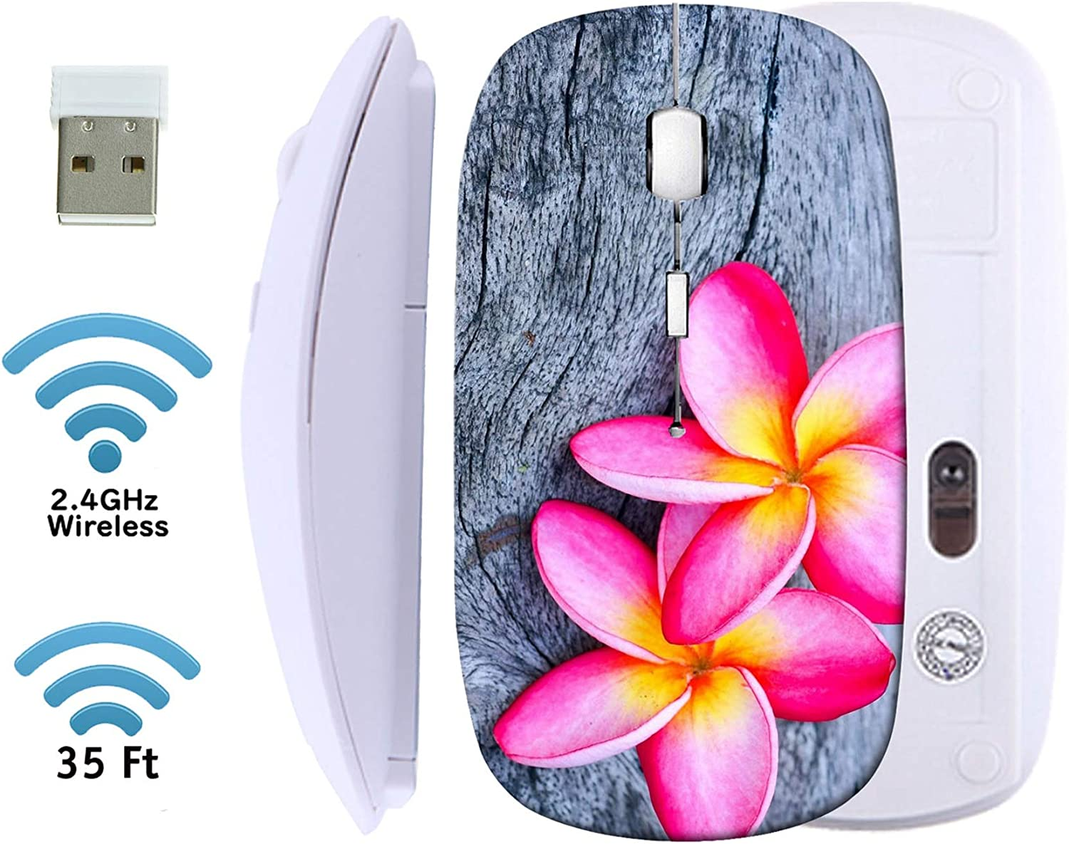 MSD Wireless Mouse White Base Travel 2.4G Wireless Mice with USB Receiver, Noiseless and Silent Click with 1000 DPI for Notebook, pc, Laptop, Computer, mac Book, Plumeria Beautiful Pink Inflorescence