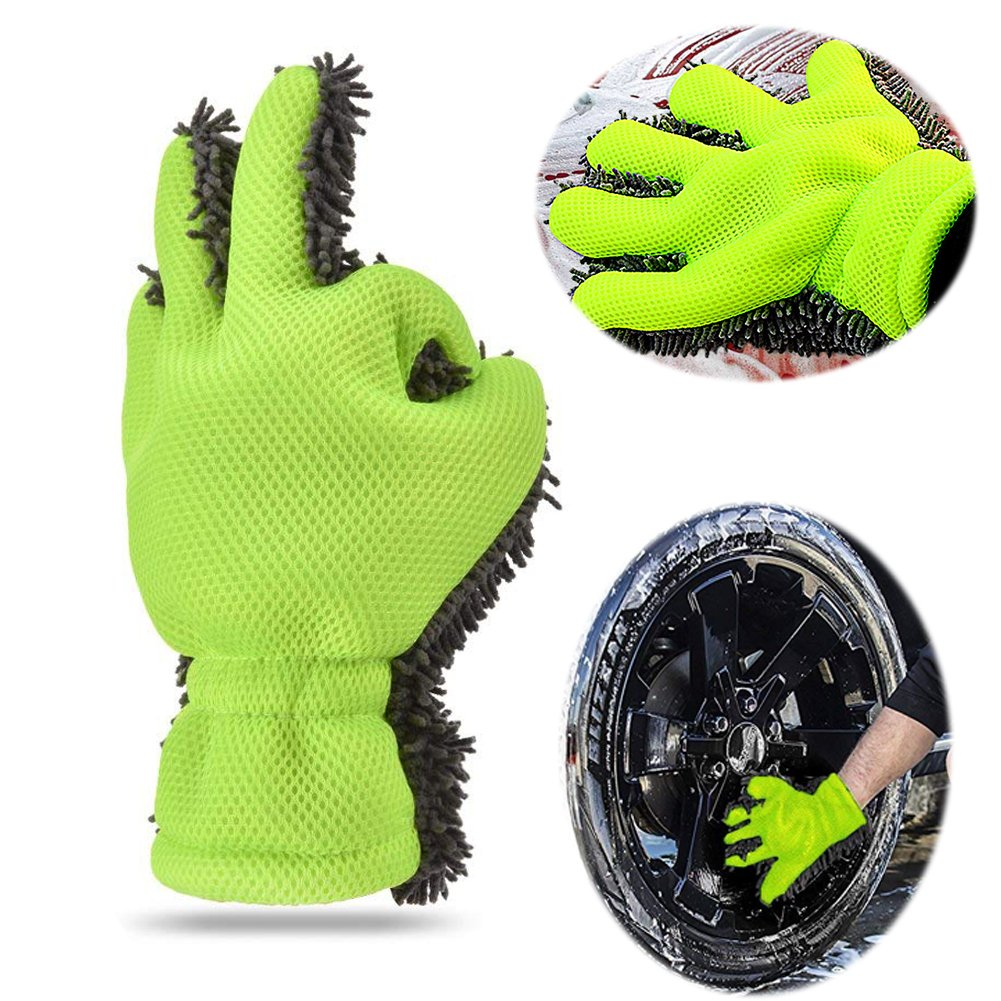 EIGIIS High Density Coral Fleece 5-Finger Car Washing Gloves Waterproof for Car and Motorbike Washing Kitchen Clean Window Cleaning (Green)