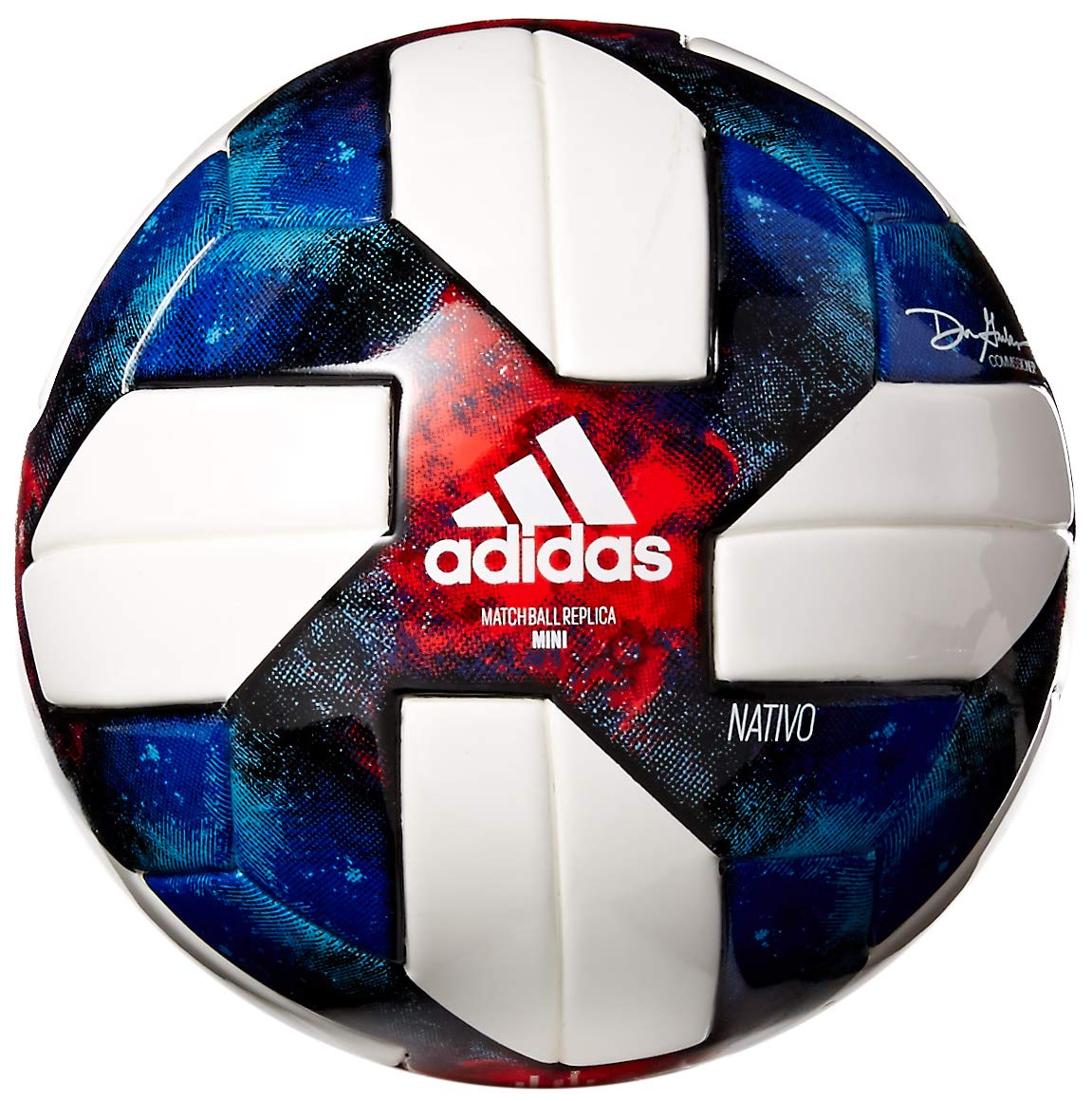 adidas MLS Glider Soccer Ball White/Black/Bold Blue/Active Red, 1