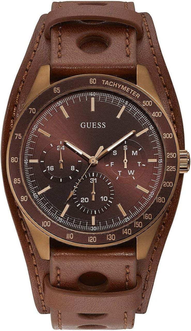 GUESS Reloj Analógico para Hombre de Cuarzo con Correa en Cuero W1100G3