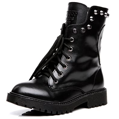 Amazon.com | Shenn Women's Round Toe Knee High Punk Military ...
