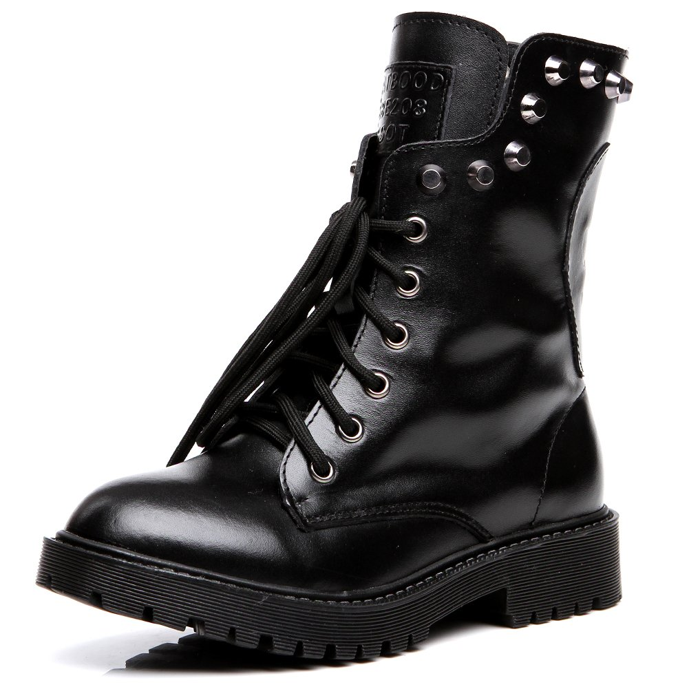 Shenn Women's Round Toe Knee High Punk Military Combat Boots(Black,US9)