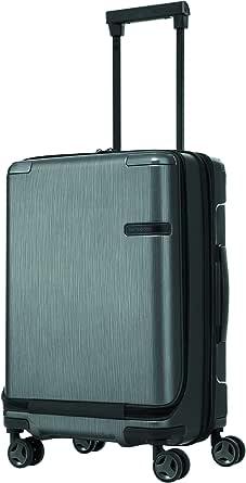 Samsonite 92052 EVOA Hard Side Spinner Suitcase Plus Front Pocket, Brushed Black, 55 Centimeters