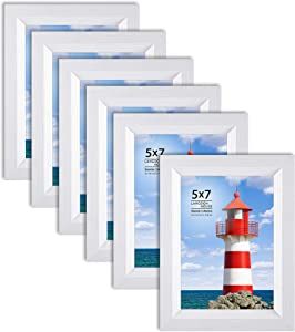 Langdon House 5x7 Picture Frame (6 Pack, White), Sturdy Wood Composite Photo Frame 5 x 7, Wall Mount or Table Top, Seaside Collection