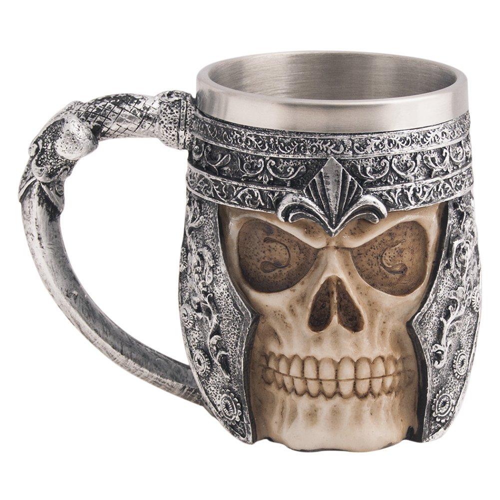 CHICVITA Viking Stainless Steel Skull Coffee Mug Viking Skull Beer Mugs Gift for Men Father's Day Gifts