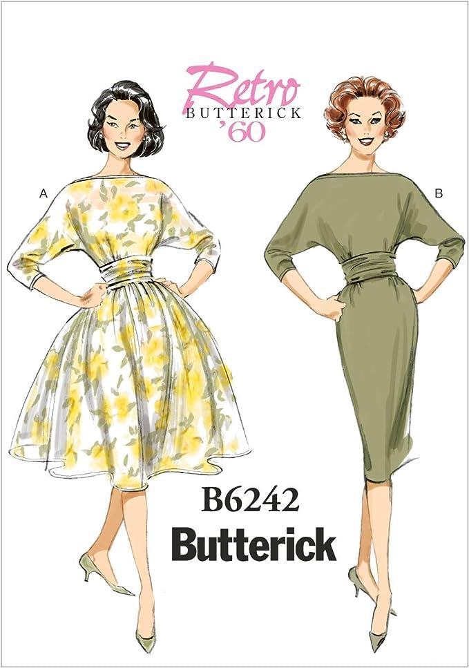 1950s Sewing Patterns | Dresses, Skirts, Tops, Mens Butterick Patterns 6242 E5Misses DressSizes 14-16-18-20-22 £8.00 AT vintagedancer.com
