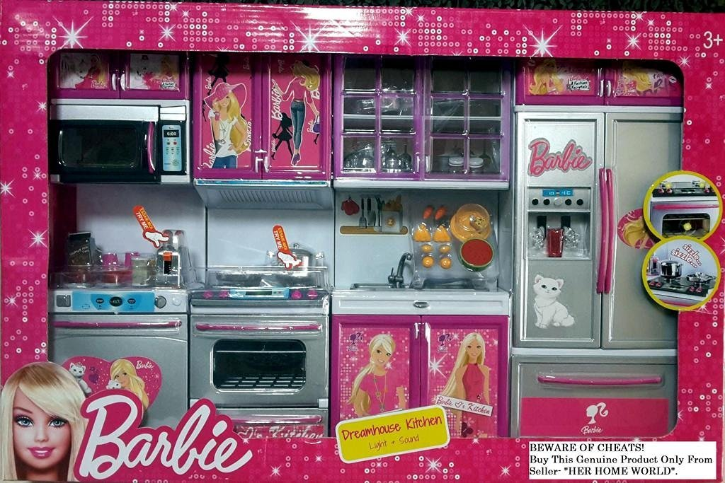 Buy Barbie Dream House Toys Basket Big Size Kitchen Modern Kitchen Set 4 Pcs Online At Low Prices In India Amazon In