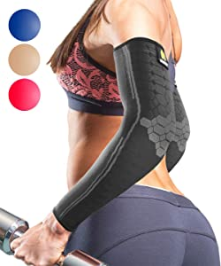 Sparthos Arm Compression Sleeves - Aid in Recovery and Support Active Lifestyle - Innovative Breathable Elastic Blend