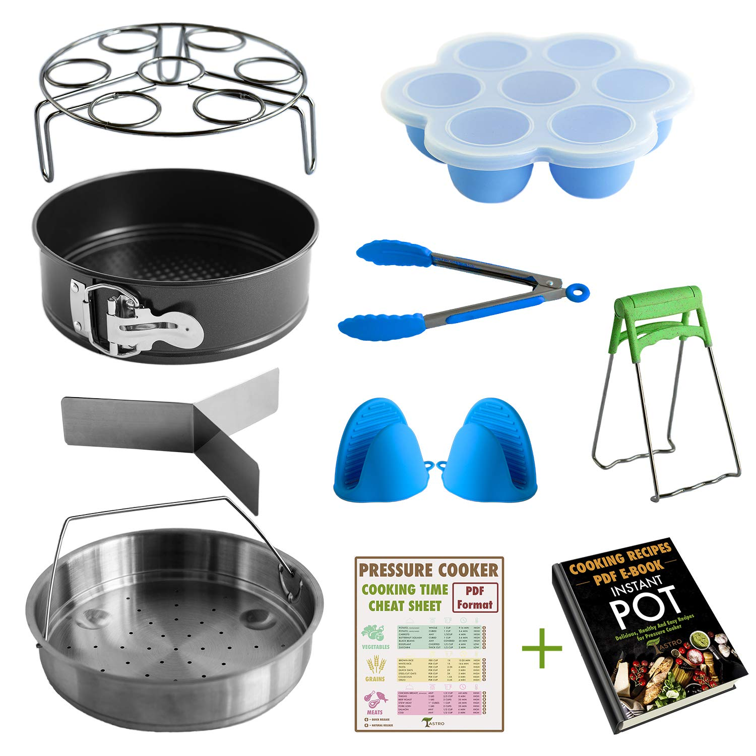 Pressure Cooker Accessories Set Compatible with Instant Pot 5,6,8 Qt with Steamer Basket, 7 Springform Pan, Egg Steamer Rack, Egg Bites Mold, Oven Silicone Mitts, Food Kitchen Tongs, Bowl Clip