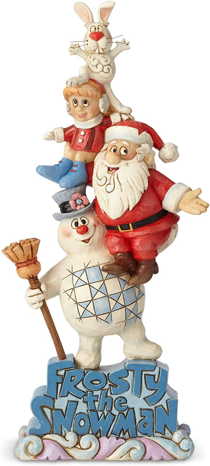 Enesco Frosty The Snowman By Jim Shore Stacked Frosty And Friends Snowman And Santa Figurine Home Kitchen Amazon Com