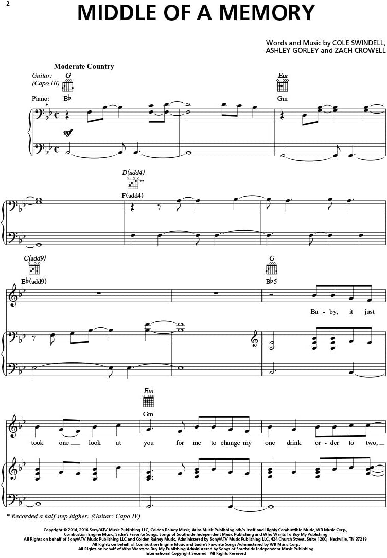 Cole Swindell – Media de una memoria – partitura de música ...