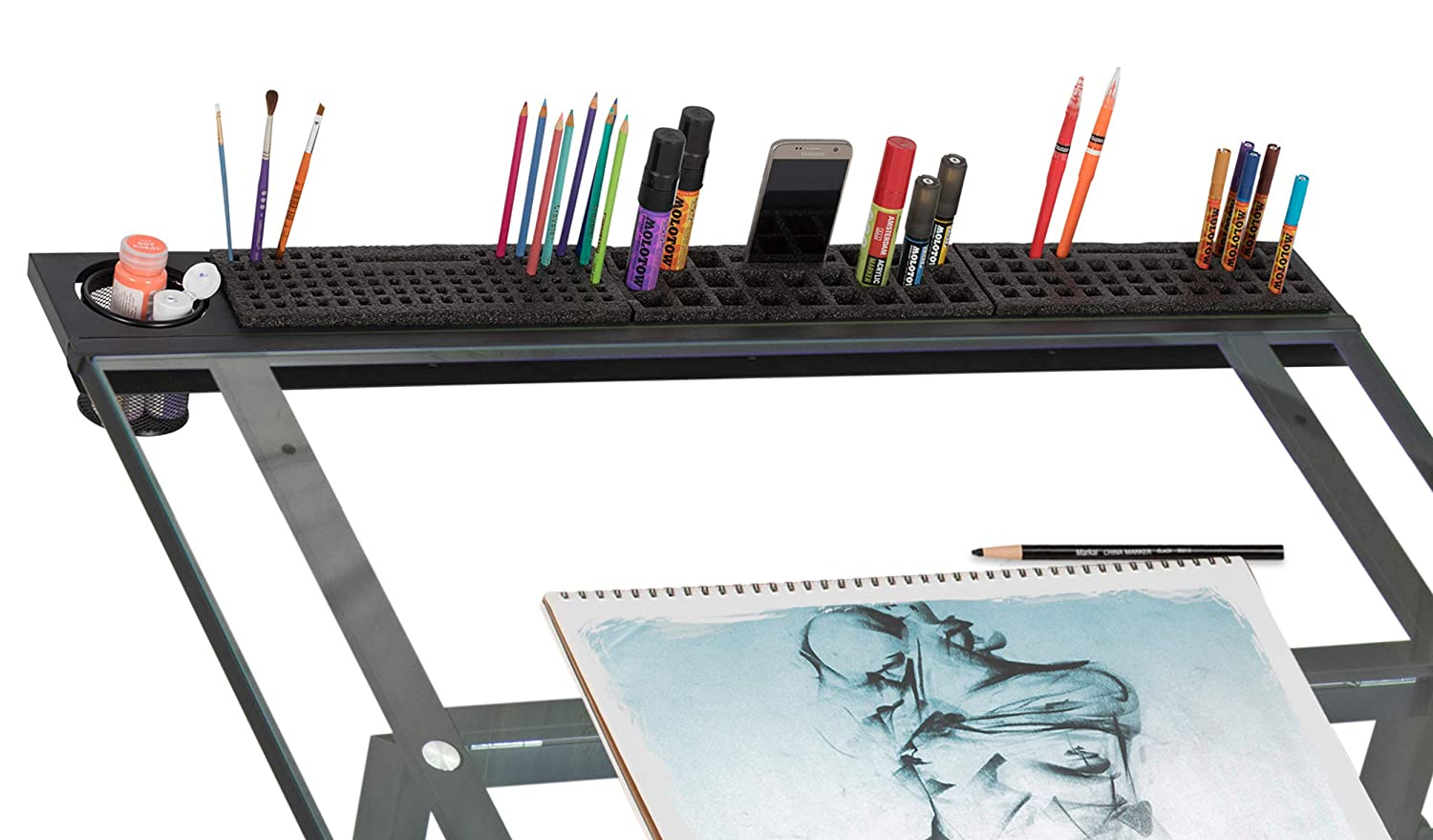 42 Inch Black//Clear Glass SD STUDIO DESIGNS Modern Premier Metal Tray 42 for Art//Craft Table