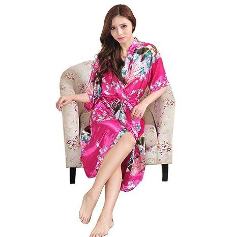 ALJL La Señora del Vestido de la Manera Rebeca Larga del Párrafo Vestido Japonés del Traje del Kimono de la Sección Fina Suelta el Albornoz Rojo Flojo de ...