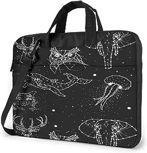 Laptop Messenger Constellation Elephant Deer Whale Shoulder Bag Briefcase Office Laptop Sleeve Case Luggage for Men Women 14 Inch