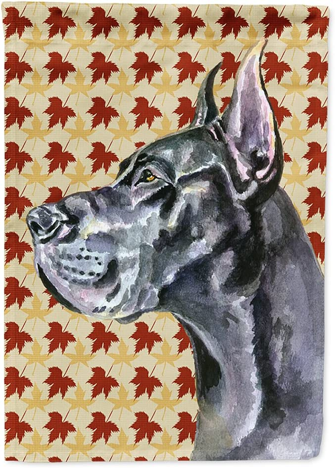 Caroline's Treasures LH9557GF Black Great Dane Fall Leaves Flag Garden Size, Small, Multicolor