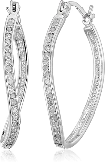 Vir Jewels 1/4 cttw Diamond Hoop Earrings .925 Sterling Silver 1 Inch