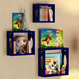 Children's Square Cube Wall Shelves Set 3 Pcs Display Kids Favorite Books Photos and More Beautifully Carved Side Panels and Open Back Design Navy Blue