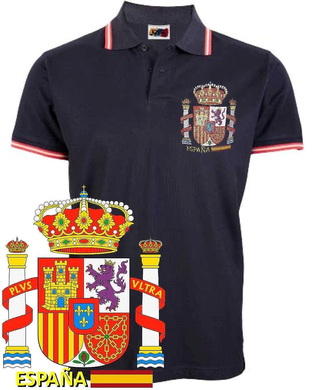 dicep Polo Bandera de España con Escudo (S, Negro): Amazon.es ...