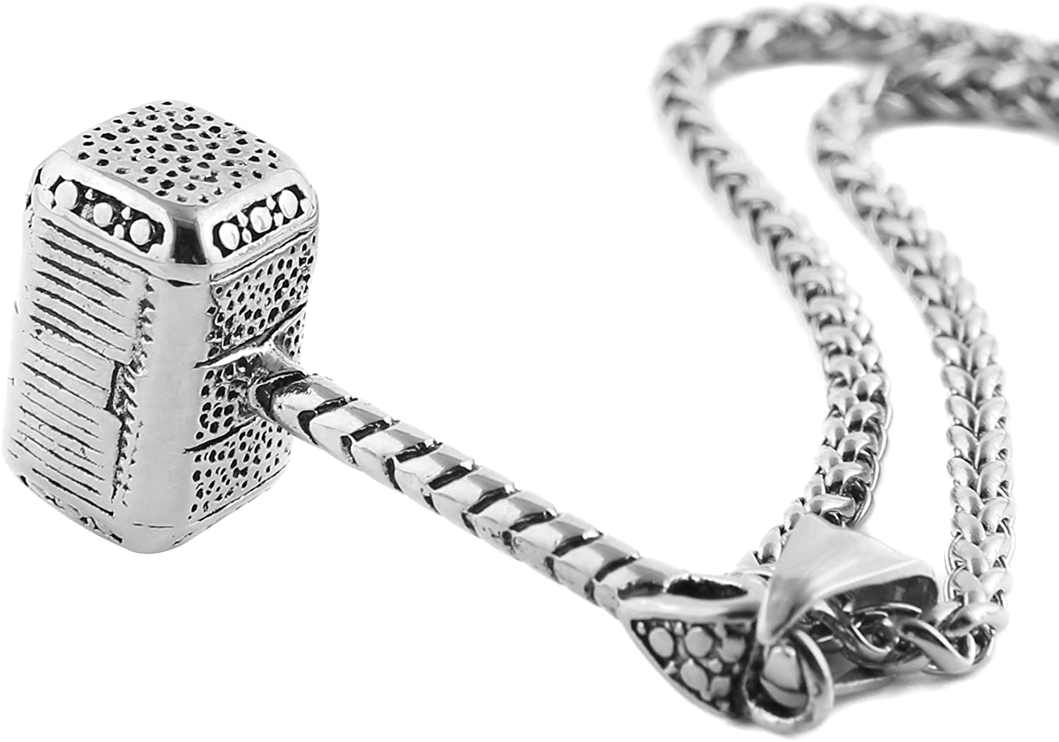 HZMAN Thor Hammer Stainless Steel Necklace for Men and Women Hammer Pendant Necklace 22+2 Inch Chain