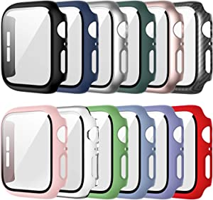 12 Pack Case for Apple Watch 38mm Series 3/2/1 with Tempered Glass Screen Protector, Haojavo Full Hard PC Ultra-Thin Scratch Resistant Bumper HD Protective Cover for iWatch Accessories