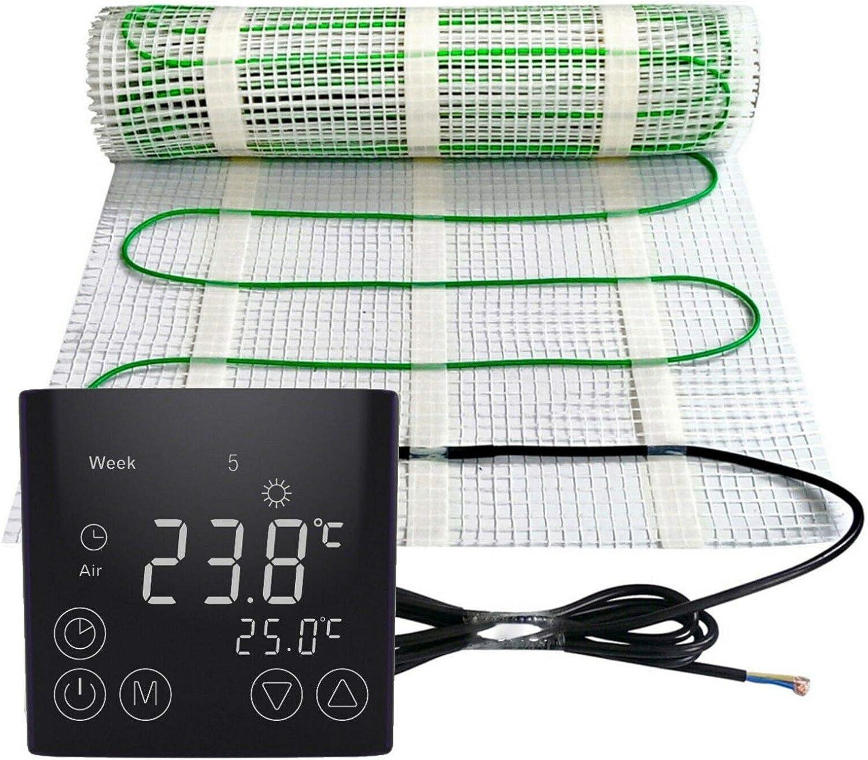 m/² :1.5 m/² Gr/ö/ße Elektrische Fu/ßbodenheizung 200Watt je m/² Thermostat Touch schwarz Elektrisch TWIN Technologie JWS verschiedene Gr/ö/ßen