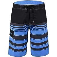 Nonwe Men's Quick Dry Swim Trunks Colorful Stripe Beach Shorts Mesh Lining
