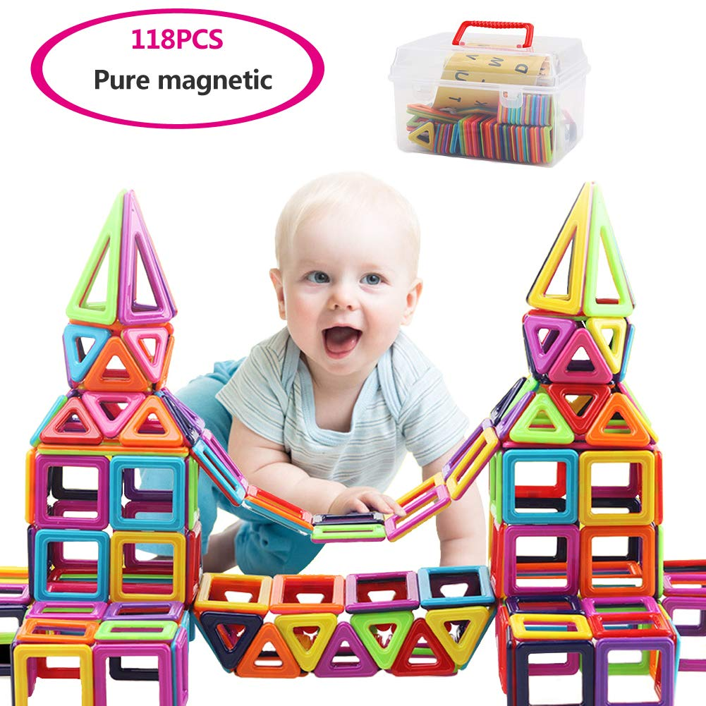 MingYuHui 118 PCS Magnetic 3D Building Blocks Set Children's Educational Toys Can Help Encourage Creativity, Imagination and A Strong Sense of Color, Easy to Construct and Easy to Store