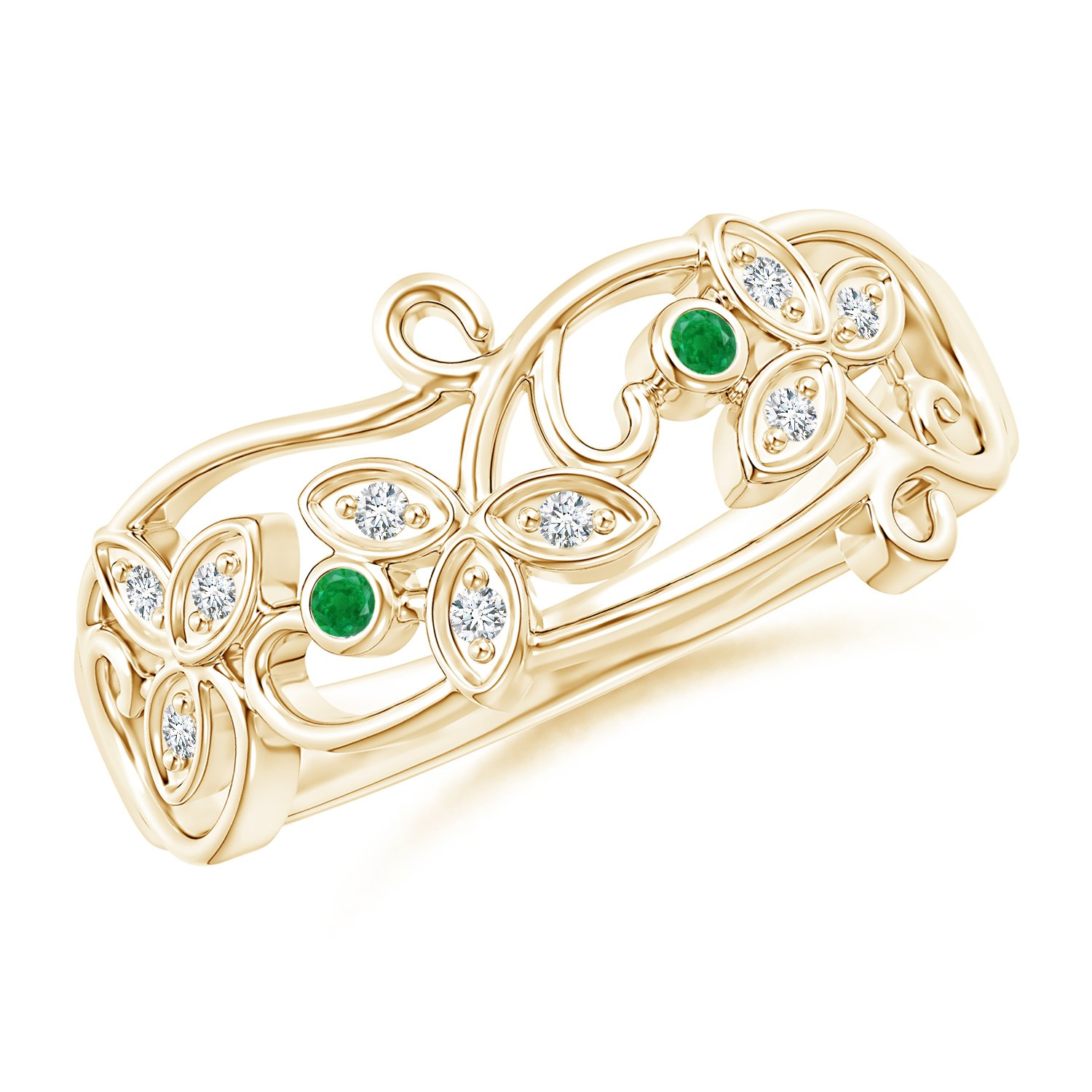 Vintage Style Emerald and Diamond Flower Scroll Ring in 14K Yellow Gold (1.5mm Emerald)