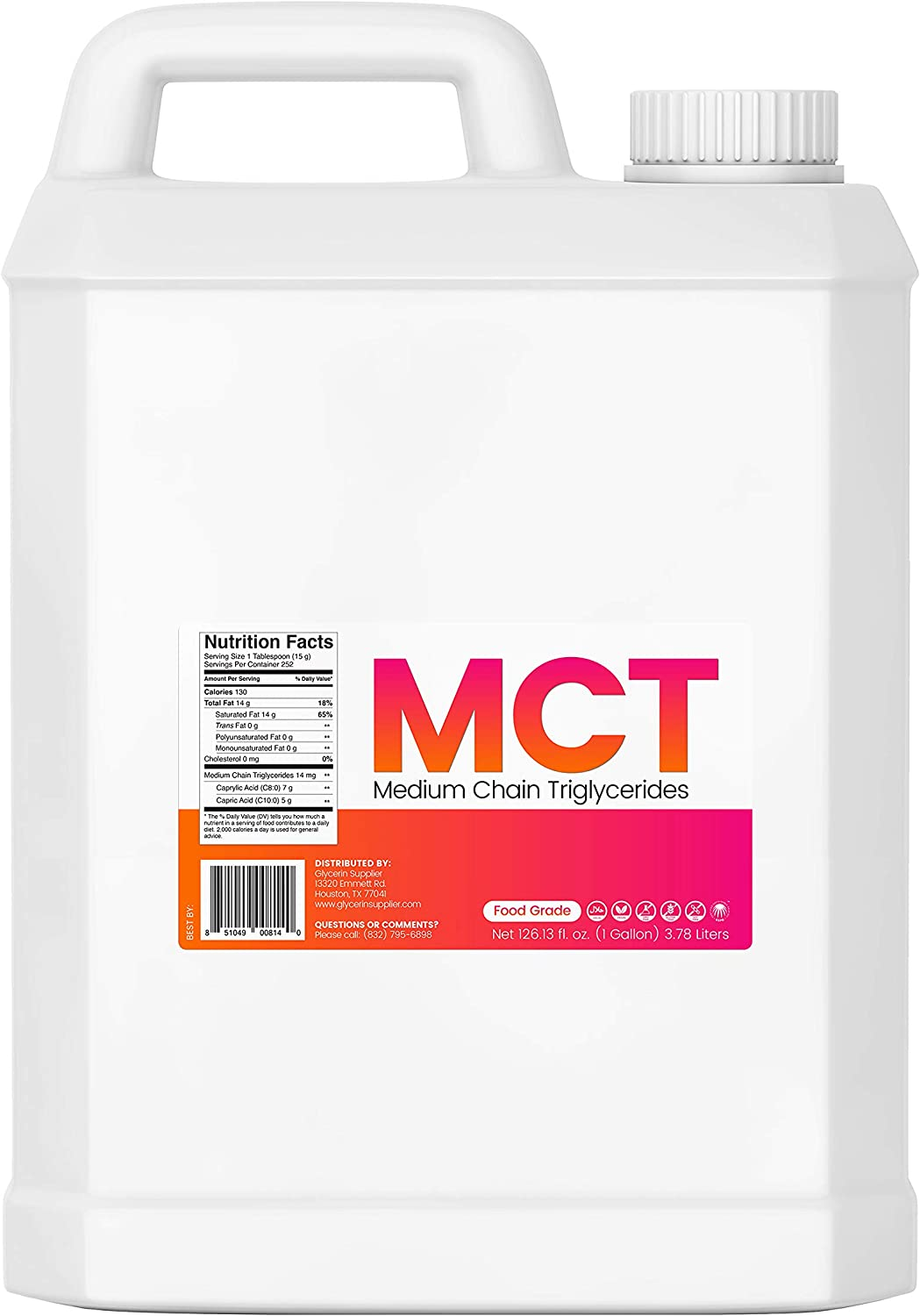 MCT Oil - 1 Gallon (128 Oz.) Sustainable Palm Derived - Food Grade - Non GMO - Halal - for Sports Nutrition, Keto and Paleo Diet, Clean Energy, Tinctures, Extracts