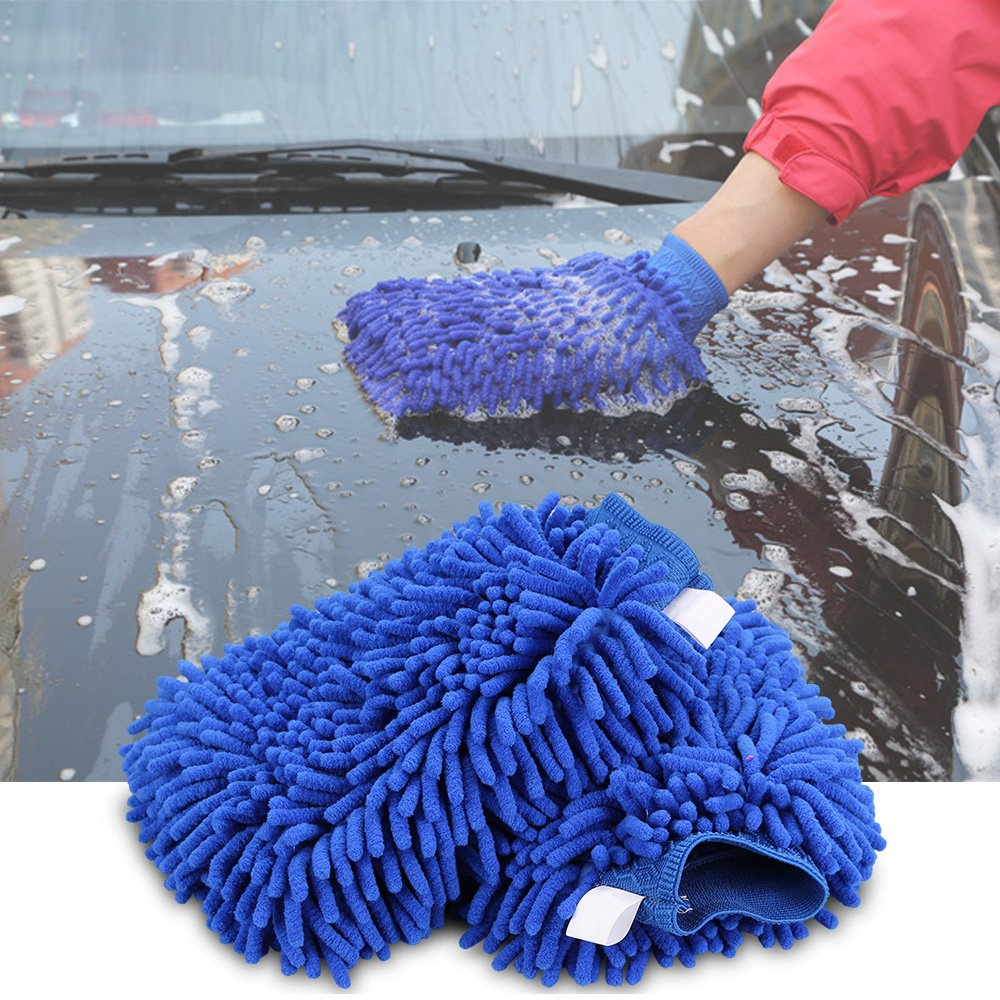 Car Wash Mitt, IWILCS Car Cleaning Microfiber Mitt/Chenille Mitt Gloves /Premium Quality Cleaning Cloth Wash Glove for Car Cleaning&Household(Pack of 2)