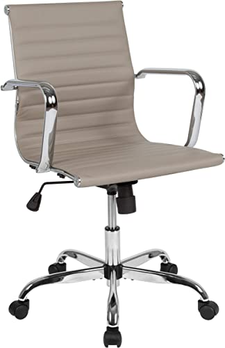 Flash Furniture Mid-Back Tan LeatherSoft Mid-Century Modern Ribbed Swivel Office Chair with Spring-Tilt Control and Arms, H-966L-2-TN-GG