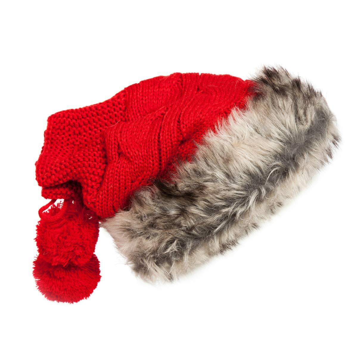 XueXian Womens Knit Fluffy Neck Gaiter Skull Cap Reversible Hat