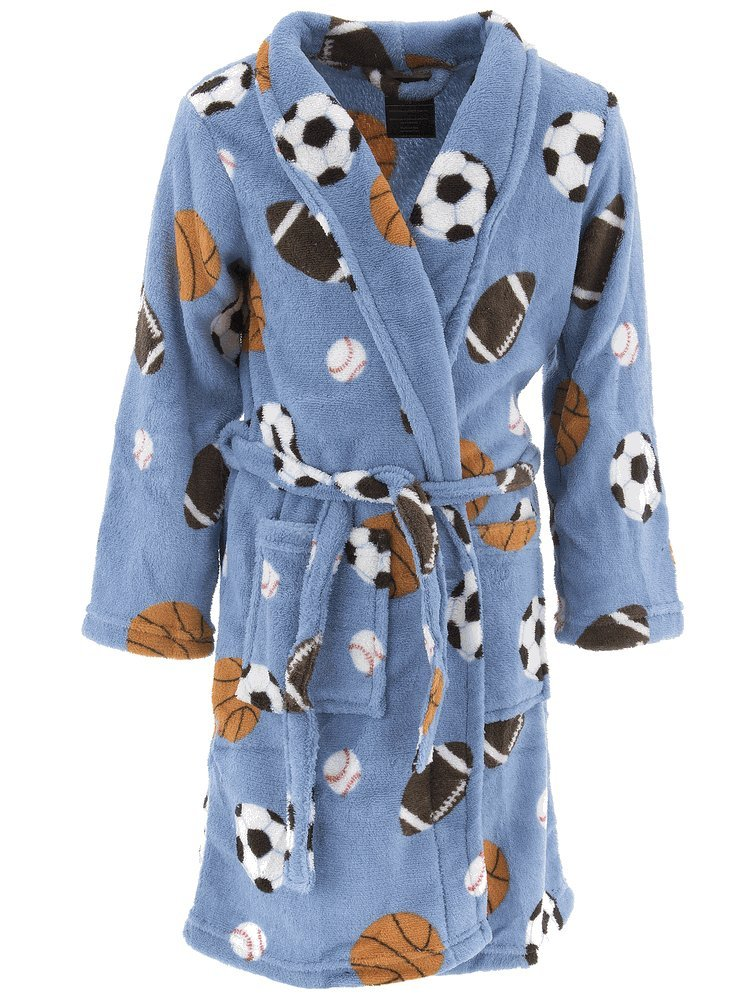 Championship Gold Little Boys' Blue Sports Balls Fleece Bathrobe 4-5