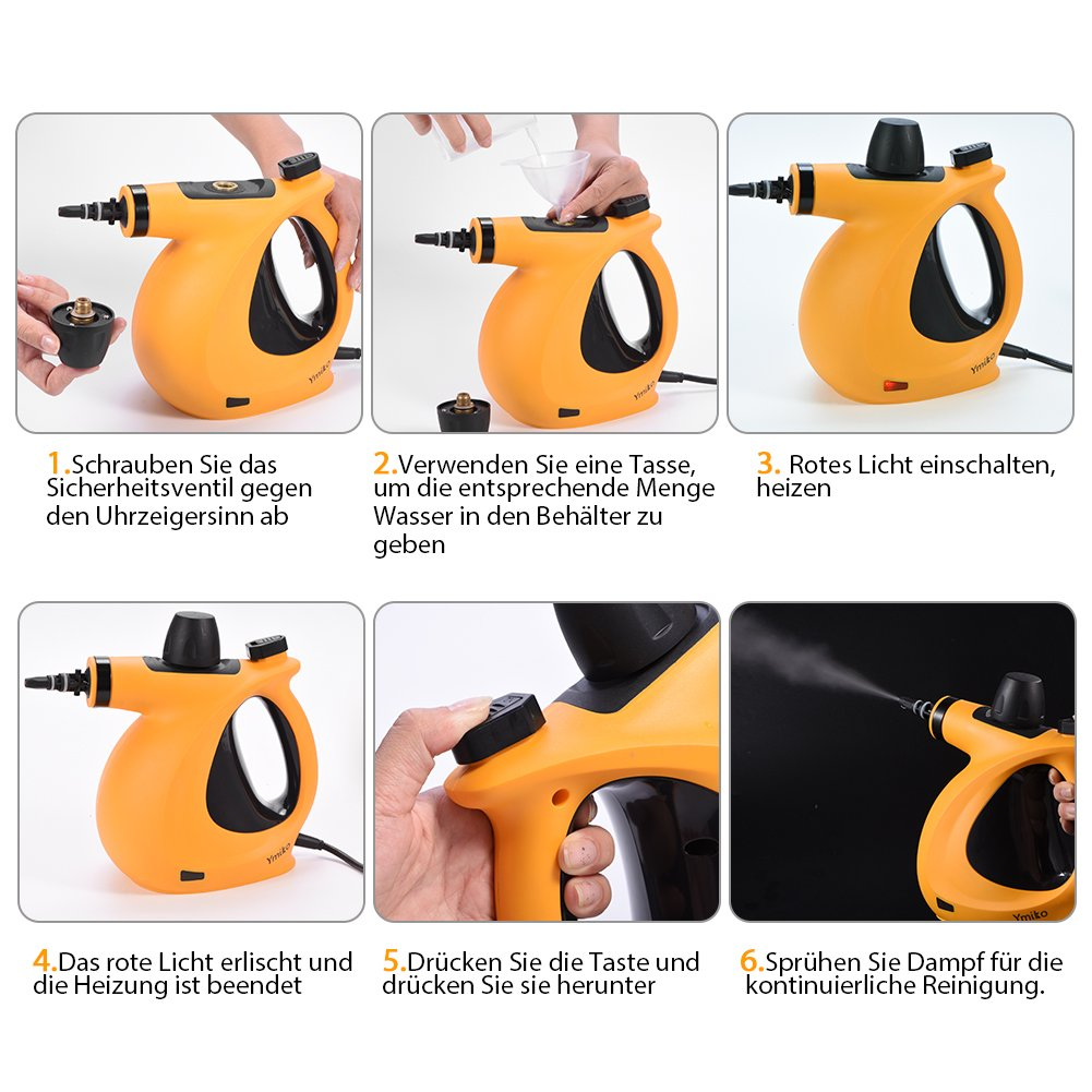 ymiko limpiador a vapor Incluye 9 accesorios) mano Limpiador a vapor para baño y cuarto de baño suelo, ventana, Alfombras: Amazon.es: Bricolaje y ...