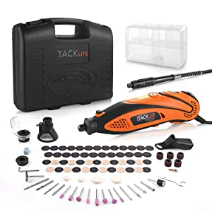 TACKLIFE Rotary Tool Kit with MultiPro Keyless Chuck and Flex Shaft, Versatile Accessories and 4 Attachments and Carrying Case, Multi-functional for Around-the-House and Crafting Projects-RTD35ACL