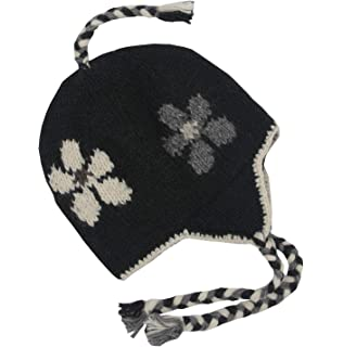 c5938bcd6 Amazon.com : Nepal Hand Knit Sherpa Hat with Ear Flaps, Trapper Ski ...