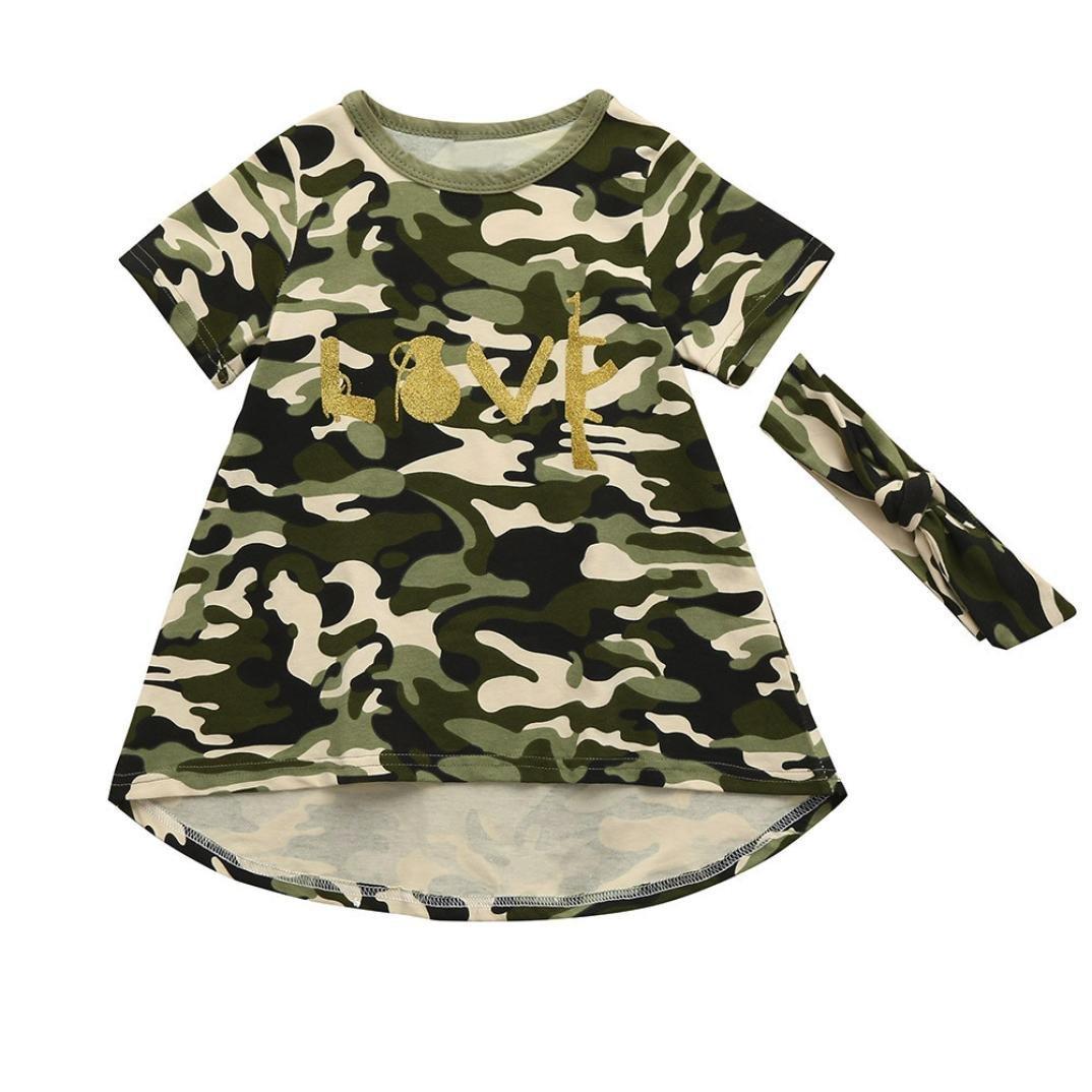 Sixcup Baby Girl Dresses, Girls Kids Camouflage Dress+Headband Clothes Sundress Casual Bodysuits Set